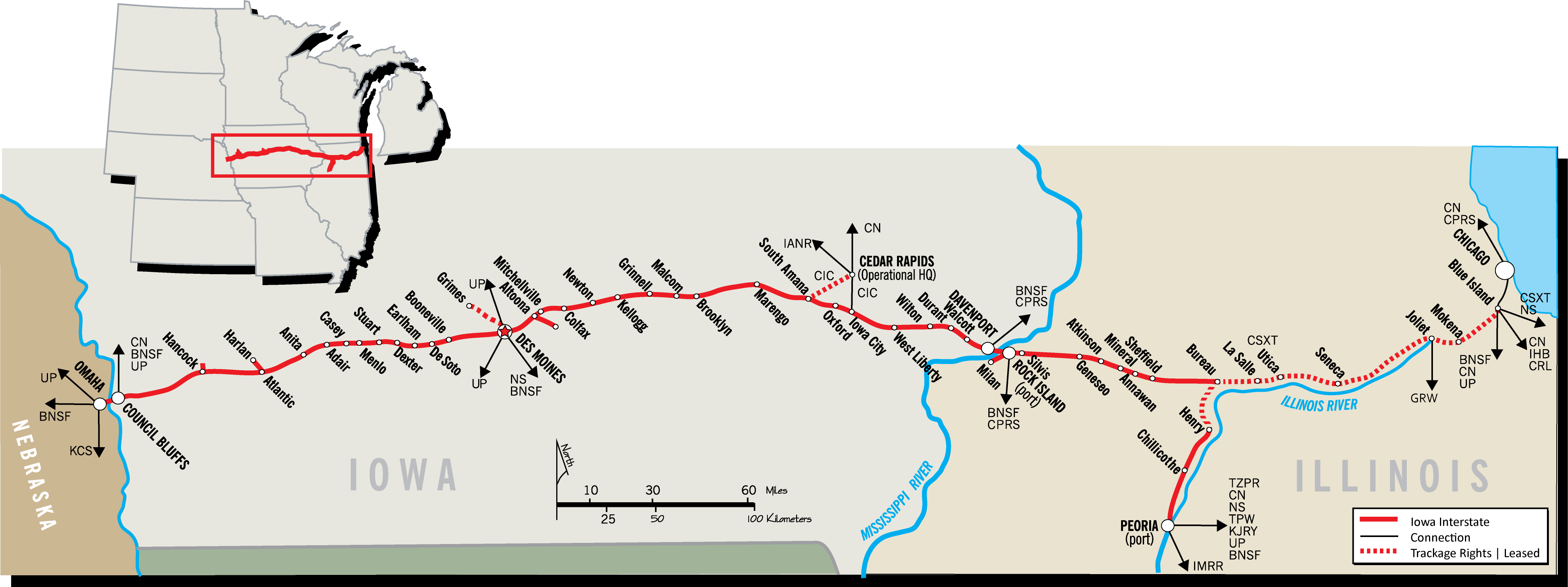 System Map - Iowa Interstate Railroad, Ltd. on iowa river iowa map, stockton iowa map, iowa state map, jackson iowa map, lacrosse iowa map, aplington iowa map, dundee iowa map, shueyville iowa map, quad cities map, kansas iowa map, norfolk iowa map, iowa county map, chester iowa map, clemons iowa map, cheyenne iowa map, dubuque iowa map, interstate 80 iowa map, bettendorf iowa map, clermont iowa map, council bluffs iowa map,